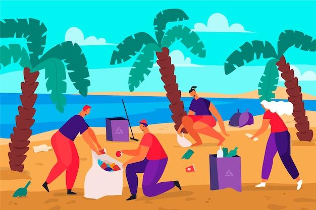 Mensen die strandconcept schoonmaken