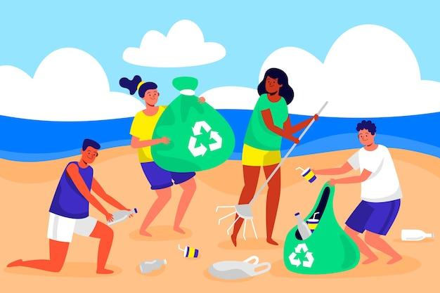 Mensen die strandillustratie schoonmaken