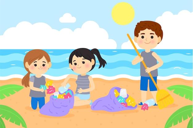 Mensen die strandontwerp schoonmaken