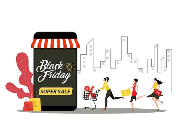 Mensen die super sale zwarte vrijdag op stadsachtergrond rennen