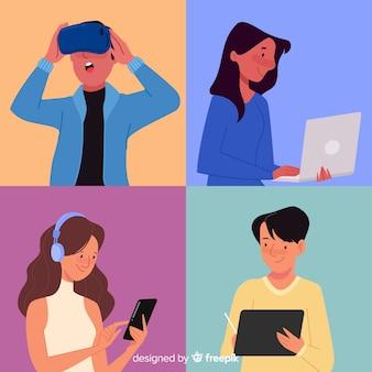 Mensen die technologische apparaten gebruiken