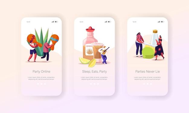 Mensen die tequila drinken op de onboard-schermsjabloon van de mobiele app-pagina van de partij