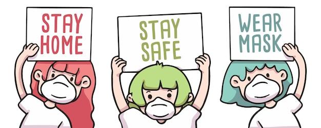 Mensen die thuis blijven, veilig blijven en maskerborden dragen covid-19 coronavirus illustratie