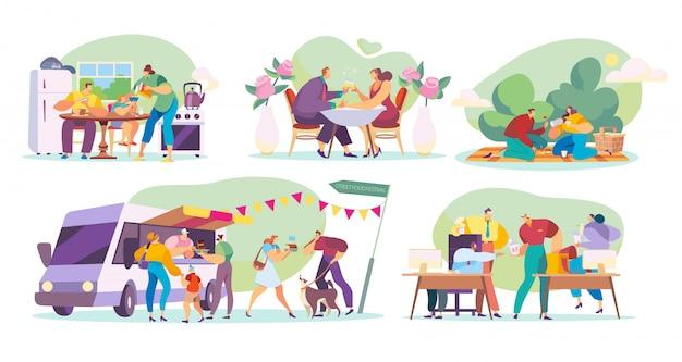 Mensen die thuis, in openlucht, in restaurant en in bureau, illustratie eten Premium Vector