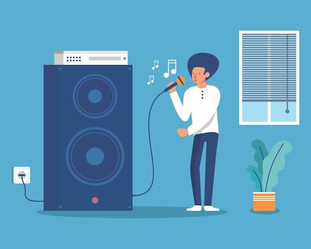 Mensen die thuis karaoke zingen met plezierquarantine vector illustration