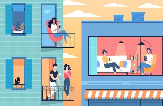 Mensen die tijd doorbrengen in een appartement thuis tijdens isolatie in quarantainetijd