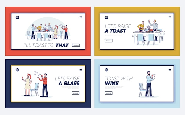Mensen die toast uitbrengen op verschillende zakelijke en familiegebeurtenissen en vieringen