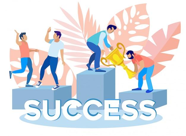 Mensen die trofee houden voor succesvolle projecten