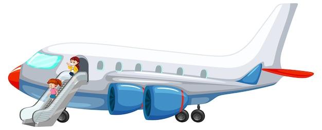Mensen die uit het vliegtuig stappen