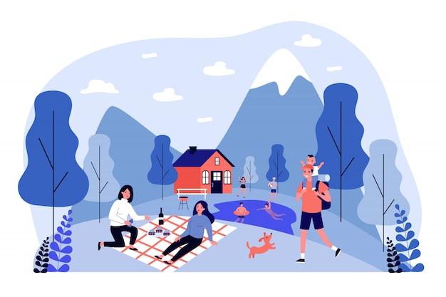 Mensen die vakantie buitenshuis doorbrengen