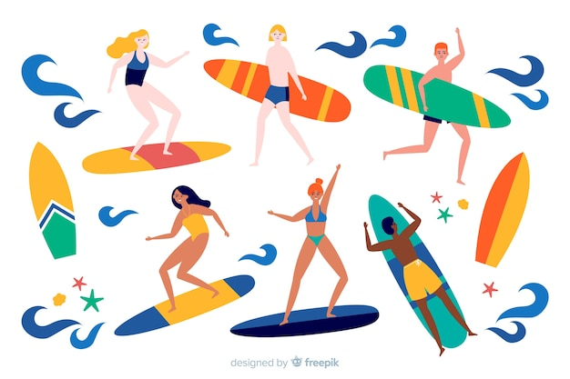 Mensen die van de zomer genieten Gratis Vector