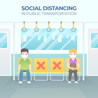 Mensen die ver van elkaar zitten sociaal afstandsconcept
