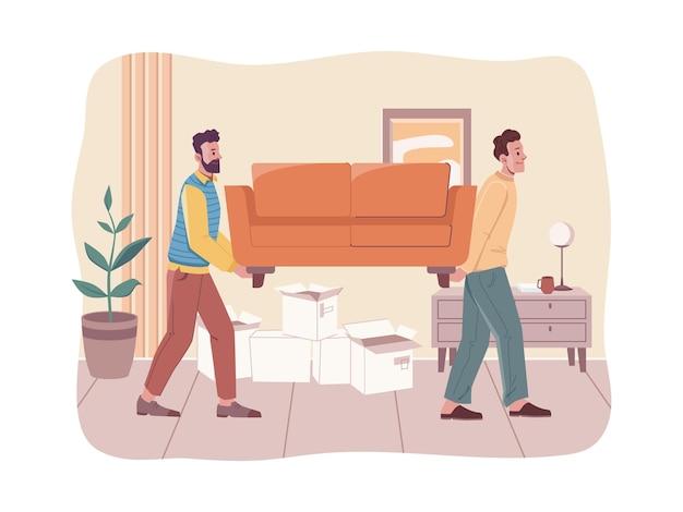 Mensen die verhuizen naar een nieuw huiskamer-interieurontwerp vectorladers met meubels die een bank optillen