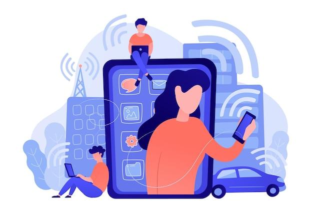 Mensen die verschillende elektronische apparaten gebruiken, zoals een laptoptablet voor smartphones. radiovelden, elektromagnetische vervuiling.