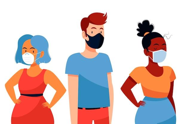 Mensen die verschillende gezichtsmaskers dragen
