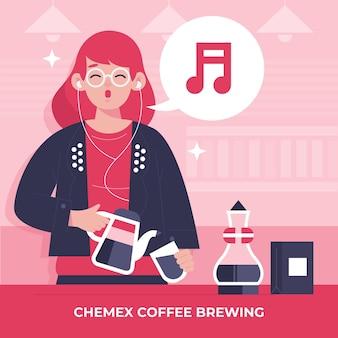 Mensen die verschillende koffiemethoden maken met een vrouw
