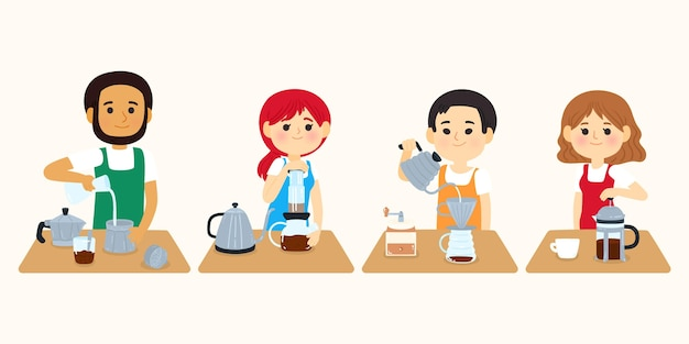 Mensen die verschillende koffiemethoden maken