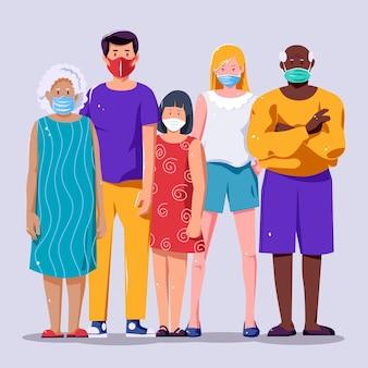 Mensen die verschillende soorten gezichtsmaskers dragen