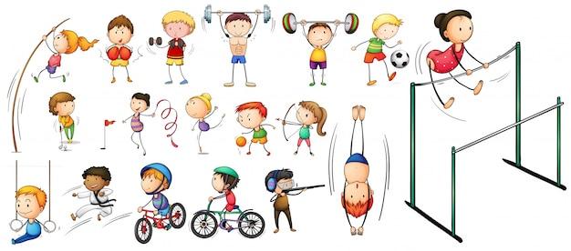 Mensen die verschillende soorten sportillustratie doen