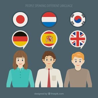 Mensen die verschillende talen spreken met een plat ontwerp