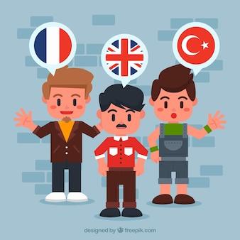 Mensen die verschillende talen spreken