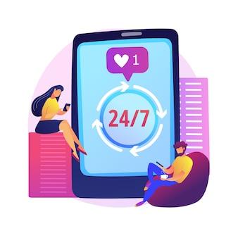 Mensen die verslaafd zijn aan smartphones. obsessie voor sociale media, trendy levensstijl, misbruik van gadgets. eigentijdse vrije tijd, probleem van de moderne generatie.