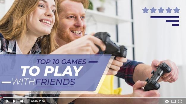 Mensen die videogame youtube-miniatuur spelen
