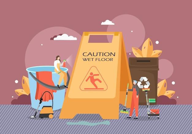 Mensen die vloer schoonmaken met stofzuiger, dweil, waarschuwingsbord voor natte vloeren, vlakke afbeelding. commerciële schoonmaak.