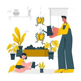 Mensen die voor planten concept illustratie zorgen