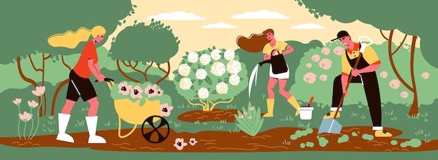 Mensen die voor planten zorgen in een tuin