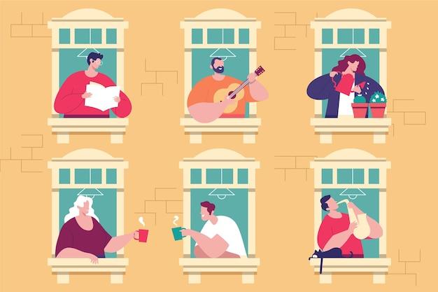 Mensen die vrijetijdsactiviteiten op balkon doen