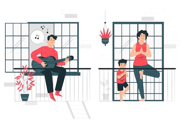 Mensen die vrijetijdsactiviteiten op de illustratie van het balkonconcept doen