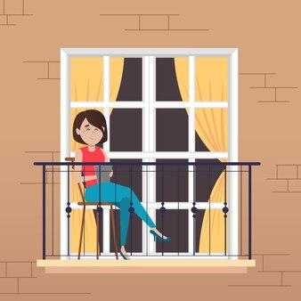 Mensen die vrijetijdsactiviteiten op het balkon doen
