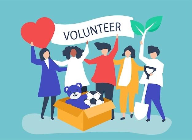 Mensen die vrijwilligerswerk doen en geld doneren