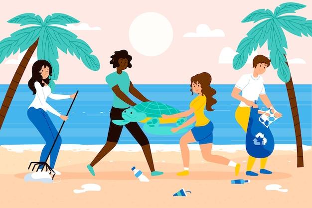 Mensen die vuilnis op strand schoonmaken