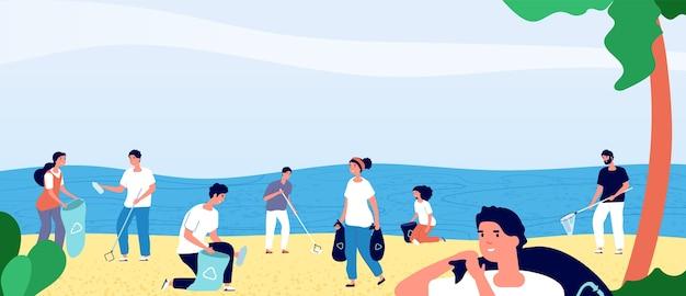 Mensen die vuilnis verzamelen op oceaanstrand