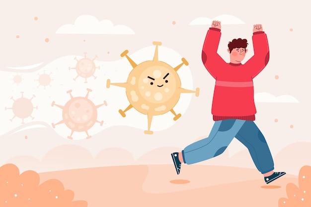 Mensen die weglopen voor deeltjes van het coronavirusconcept
