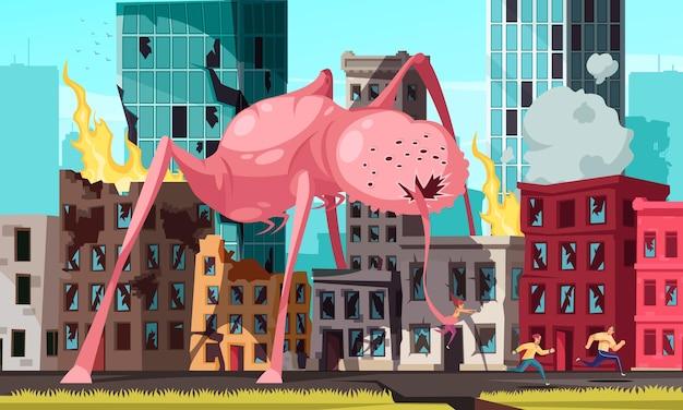 Mensen die wegrennen van een enorm monster dat de stad aanvalt en een vrouw betrapt met zijn cartoonillustratie met zijn lange tong