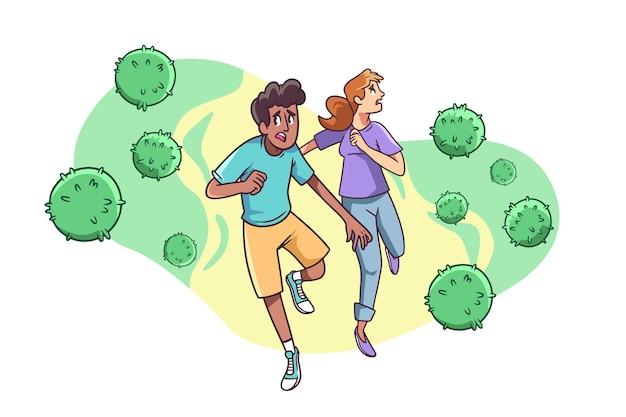 Mensen die wegrennen voor coronavirusdeeltjes