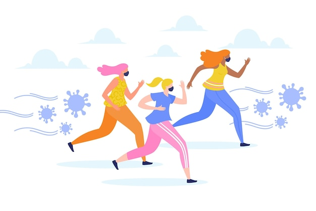 Mensen die wegrennen voor deeltjes coronavirus