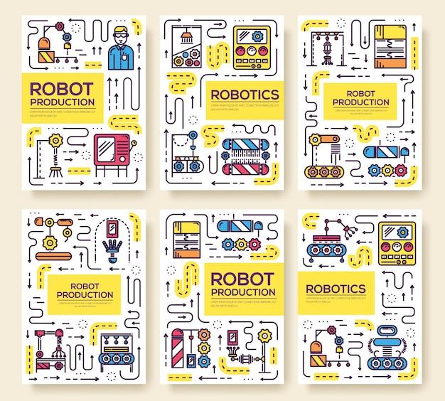Mensen die werken aan robots lopende band dunne lijn set