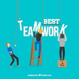Mensen die werken als een team achtergrond in vlakke stijl