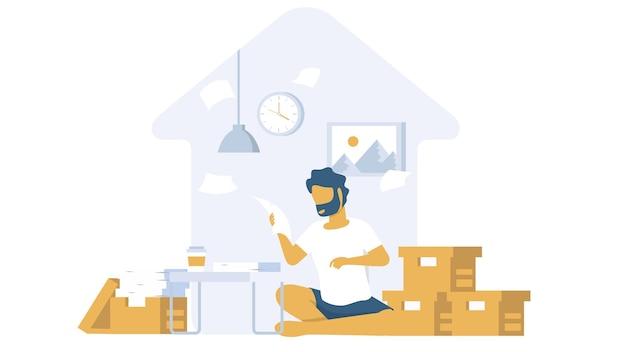 Mensen die werken in een thuisgebied met een minimaal ontwerp