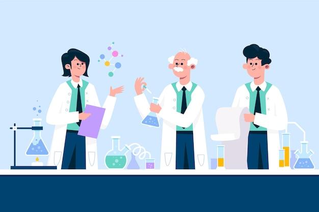 Mensen die werken in een wetenschappelijk laboratorium