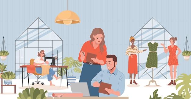 Mensen die werken in naaiatelier flat illustratie managers kleermakers
