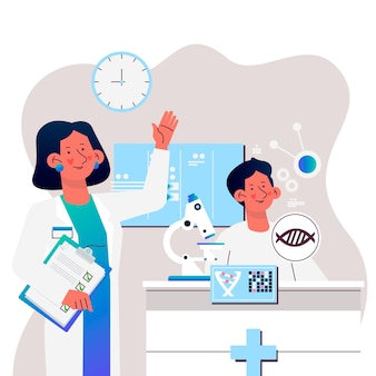 Mensen die werken in science lab