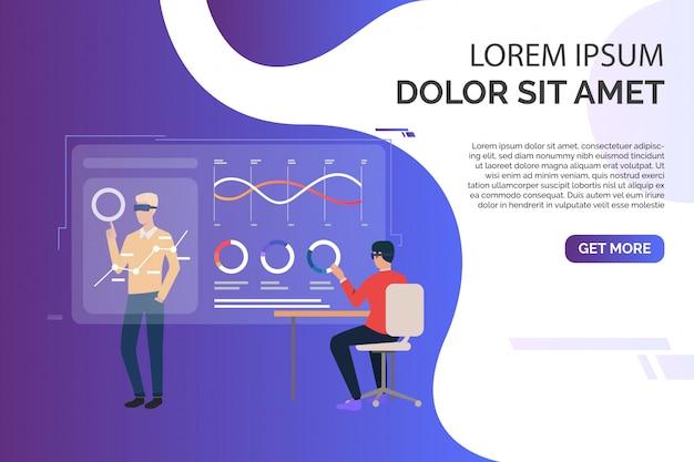 Mensen die werken met grafieken op virtuele schermen en voorbeeldtekst