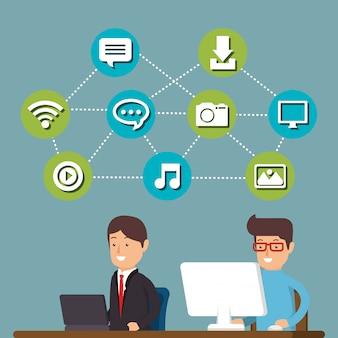 Mensen die werken met sociale media iconen