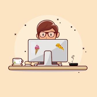 Mensen die werken op computers met plat ontwerp van hete thee