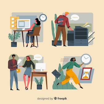 Mensen die werken op kantoor plat ontwerp